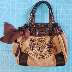 Juicy Couture Brown Velour Bag Dog Logo